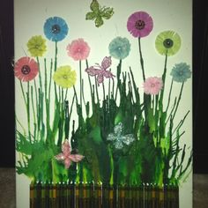 Melted Green Crayons + Flowers = Wall Art!