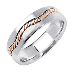 18K Tri Color Gold Braided Rope Edge Womens Comfort Fit Wedding Band 65mm Size8 * Be sure to check out this awesome product. This Amazon pins is an affiliate link to Amazon.