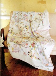 Quilt made from vintage embroidered textiles featured in The Gentle Art of Stitching by Jane Brocket