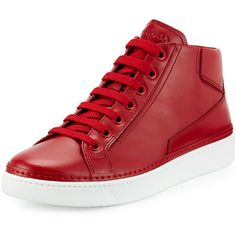 Prada Leather Mid-Top Sneaker (990 CAD) ❤ liked on Polyvore featuring shoes, sneakers, red, leather sneakers, lace up sneakers, red trainer, red sneakers and leather lace up sneakers