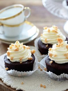Chocolate Toffee-Crunch Cupcakes with Vanilla Toffee-Crunch Frosting