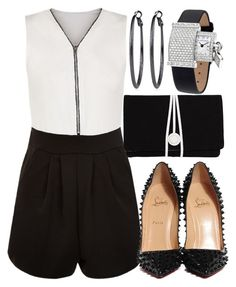 """Black And White Romper"" by deedee-pekarik ❤ liked on Polyvore featuring Cameo Rose, Christian Louboutin, Torula Bags, White House Black Market, Van Cleef & Arpels, blackandwhite and romper"