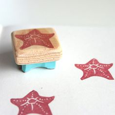 Tiny Starfish stamp, hand carved, wood mounted