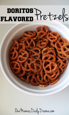 Doritos flavored pretzels One Mama's Daily Drama --- Oh my yum! These pretzels are the perfect balance of crunch, spicy, and cheesy! Ready in 40 minutes for an afternoon or party snack. Snack Mix Recipes, Yummy Snacks, Cooking Recipes, Snack Mixes, Drink Recipes, Kid Snacks, Lunch Recipes, Healthy Salty Snacks, Football Snacks