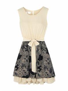Sweet Bow Tight Waist Sleeveless O-Neck Fashion Dress