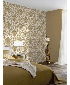 Stunning metallic panel design wallpaper by Holden comes in gold would look great as a feature wall or when used to decorate a whole room. Glitter Bedroom, Glitter Wallpaper, Metal Panels, Designer Wallpaper, Pattern Wallpaper, Home Projects, Damask, Master Bedroom, Curtains