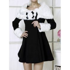 Elegant Style Faux Fur Collar Pelpum Top Long Sleeves Black Overcoat Without Brooch For Women, BLACK, L in Jackets & Coats | DressLily.com