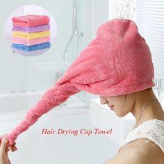 Hair Quick Drying Towel Turban Turbie Twist Wrap Loop On Hat Cap Microfibre