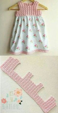 Add a Crochet yoke to a purchased skirt or dress - Carmen Acevedo Vestido de crochet y tela, can How to Crochet Baby Toddler Gi Crochet Patterns Dress Crochet and fabric dress, crochet hook and fabric skirt. Scarfs crochet how to crochet romantic lacy sha Crochet Yoke, Crochet Fabric, Filet Crochet, Crochet Stitches, Crochet Blouse, Easy Crochet, Thread Crochet, Baby Tulle Dress, Baby Skirt