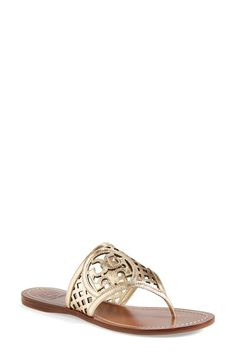 Free shipping and returns on Tory Burch 'Lattice' Leather Thong Sandal (Women) at Nordstrom.com. A cutout Tory Burch medallion lends unmistakable signature charm to a striking metallic thong sandal.