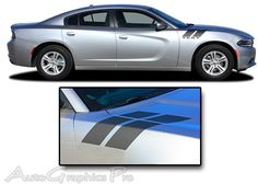 "2015-2016 Dodge Charger ""DOUBLE BAR 2"" Hood Hash Marks Mopar Style Vinyl Graphics Stripes Kit"