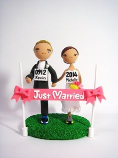 Marathon runners theme Custom wedding cake topper by Clayphory, $180.00
