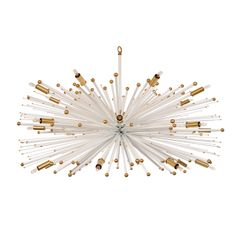 Supernova chandelier Designer Original By Lou Blass In White W/ Bronze Accents at 1stdibs