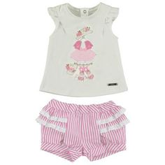 Picture of Sale Mayoral Baby Girls White T Shirt And Red Striped Bloomer Shorts Set baby girls white top red striped bloomer shorts 1282 1