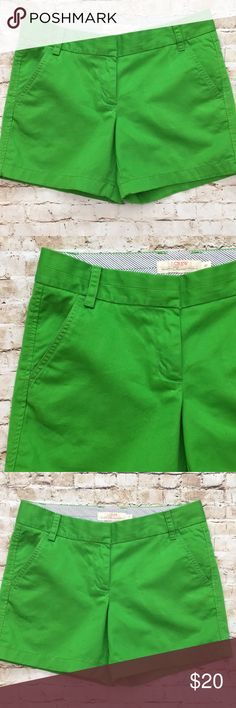 "J.Crew Green Chino Short Great condition Size 6  Super cute wonderful color Pockets in front pockets in back  15"" long 4 3/4"" inseam 15 3/4 "" waist  Flat measurements No rips tears or stains Non-smoking home💕 J. Crew Shorts Cargos"