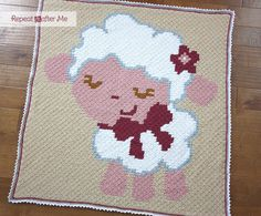 Crochet Corner to Corner (C2C) Baby Sheep Graphgan