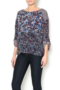 Mixed print blouse with dropped shoulders and convertible sleeve with button tabs. Features a high-low hemline and side slits.   Mixed Pattern Blouse by Plenty buy Tracy Reese. Clothing - Tops - Long Sleeve Clothing - Tops - Blouses & Shirts North Shore, Boston, Massachusetts