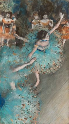 Edgar Degas: Swaying Dancer (Dancer in Green) 1877 - 1879 Pastel and gouache on paper. 64 x 36 cm Museo Nacional Thyssen-Bornemisza, Madrid Edgar Degas, Degas Dancers, Popular Artists, Principles Of Art, Animal Posters, Art Impressions, Historical Art, Classical Art, Vintage Wall Art