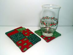 Christmas Coasters  Multi Set of 4 by PatchworkByPaula on Etsy, $9.00