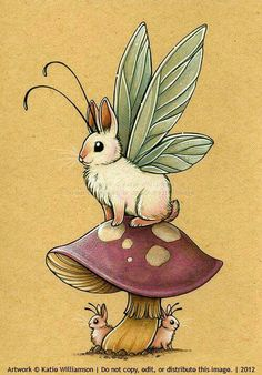 Illustration by Katie W on deviantart. Magical Creatures, Fantasy Creatures, Drawing Mythical Creatures, Cute Drawings, Animal Drawings, Desenhos Harry Potter, Illustration Art, Illustrations, Rabbit Art