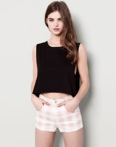 Pull&bear Crop Top in Black | Lyst