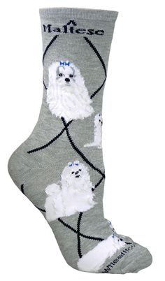 These Maltese Dog Gray Cotton ladies socks are a nice addition to any wardrobe, but to the Maltese owner, they are a must have! Maltese Dog Gray cotton ladies socks are a great conversation starter ab