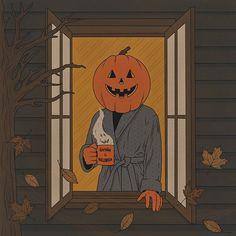 A brisk October morning 🎃 . Vintage Halloween Cards, Retro Halloween, Halloween Horror, Spooky Halloween, Happy Halloween, Halloween Decorations, Halloween Painting, Halloween Night, Arte Horror