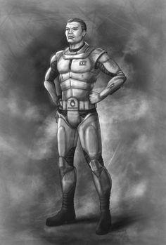 """Jonas Peregrino, o herói da série """"As Lições do Matador"""", em traje de combate. Arte de Vagner Vargas. Mais em http://galaxis.aquart.com.br/herois/"""
