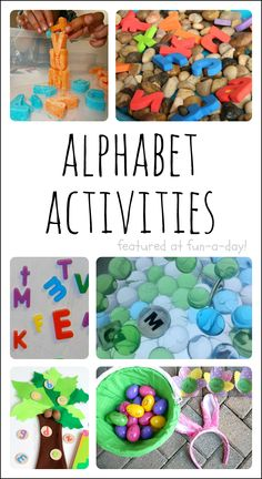 Over 20 fun, play-based alphabet activities for the kiddos (Share It Saturday features). Includes additional resources for more early literacy ideas. Good for Chica chica boom boom Preschool Literacy, Early Literacy, Literacy Activities, In Kindergarten, Preschool Activities, Play Based Learning, Learning The Alphabet, Early Learning, Kids Learning