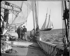 "The fishing schooner ""Mayflower"" from the deck of the ""Elizabeth Howard"" (by Boston Public Library)"