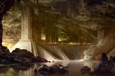 Therefore the Naugrim laboured long and gladly for Thingol, and devised for him mansions after the fashion of their people, delved deep in the earth. ~ The Silmarillion, Of the Sindar.  (Artwork: Nurunkhizdin, Mansion of Ironfists on the Pinon Rhûn)