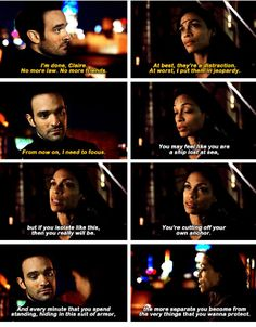 """""""I'm done, Claire. No more law. No more friends. At best, they're a distraction. At worst, I put them in jeopardy. From now on, I need to focus"""" - Matt and Claire #Daredevil"""