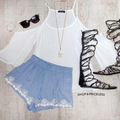 Open Fields Lace Shorts - Blue
