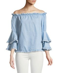 Off-The-Shoulder Fringed Denim Blouse