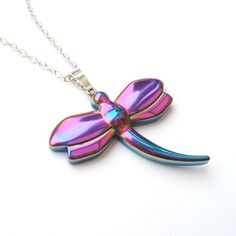 Rainbow Dragonfly Stone Necklace by TemporalFlux on Etsy