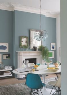 Oval Room Blue by Farrow & Ball Paint Love the pale blue walls and blue ch. - Oval Room Blue by Farrow & Ball Paint Love the pale blue walls and blue chandelier - Oval Room Blue, Dining Room Blue, Dining Room Colors, Light Paint Colors, Interior Paint Colors For Living Room, Interior Wall Colors, Living Room Decor Colors, Room Interior, Dining Area