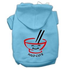 Miso Cute Screen Print Pet Hoodies Baby Blue Size Med (12)