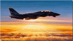 """In the Courtyard of God"" by Rick Herter.  A Navy F-14 Tomcat from Fighter Squadron Two, The Bounty Hunters, cruises above a brilliant sunlit cloud deck. www.RickHerterArt.com"