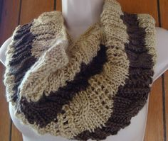 Cowl Knitted Womens Cabled Cowl Light Brown and by CherylsKnits, $30.00
