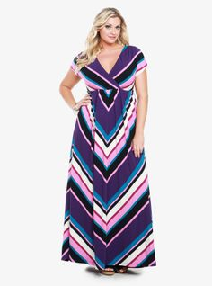 Mitered stripes (in made-for-fall hues) pattern this super-soft knit maxi dress. A surplice neckline and softly shirred waist shape the effortless silhouette.