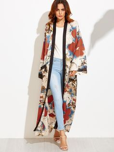 Calico Print Contrast Trim Belted Maxi Kimono - Cover Up Kimono Outfit, Kimono Fashion, Hijab Fashion, Fashion Clothes, Fashion Outfits, Fashion Trends, Kimono Cardigan, Womens Fashion, Mode Abaya