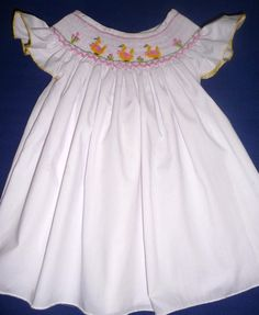 d85d5d8da11 Bishop style dress hand smocked with yellow ducklings