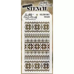 Tim Holtz 4x8 Layering Stencil - Holiday Knit THS028 | Buddly Crafts £5.99 Tim Holtz, Stampers Anonymous, Joann Fabrics, Simon Says Stamp, Arts And Crafts Supplies, Ink Painting, Project Life, Project Ideas, Art Projects