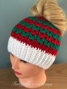 Size is for in head Made and ready to ship Crocheted in soft acrylic yarn You will receive the hat in photo above This messy bun hat is adorable for the holidays! Thank you for visiting Size is for in head Made and ready to ship Crochet Beanie, Knitted Hats, Knit Crochet, Crochet Christmas Hats, Crochet Gifts, Loom Knitting, Crochet Projects, Winter, Crochet Patterns