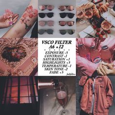 sunglasses vsco art, jacket, and champagne image Photography Filters, Photography Editing, Feed Insta, Vsco Hacks, Pink Filter, Vsco Effects, Vsco Feed, Fotografia Tutorial, Feeds Instagram