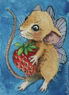 Fairy Mouse - 2015 by Sue Flask ACEO Original Gouache Painting Card Strawberry #Miniature