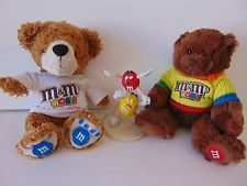 "M&Ms candy dish 5.5"" tall + 2 Plush Toys Lot Teddy Bear M&Ms World Las Vegas Z6"