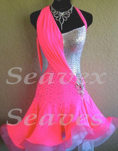 Ballroom Latin Cha Cha Ramba Samba Dance Dress US 12 UK 14 Skin Bright Sliver
