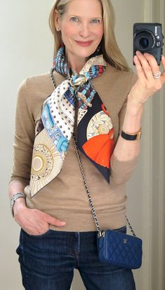 MaiTai's Picture Book: FSH inspiration and gold Anneau Infinity rings! Pom Pom Bag Charm, Fall Scarves, Fall Looks, Blue Sweaters, Fashion Pictures, Scarf Styles, Hermes Kelly, Timeless Fashion, Fashion Looks