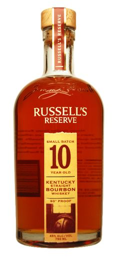 Russell's Reserve 10 Year Old Small Batch Straight Bourbon Whiskey.Many bourbon enthusiasts agree that 10 years is the sweet spot for bourbon. | spiritedgifts.com Whiskey Day, Good Whiskey, Scotch Whiskey, Bourbon Whiskey, Whiskey Bottle, Irish Whiskey, Whiskey Recipes, Bourbon Drinks, The Distillers